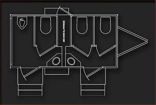 INTERIOR LAYOUT OF MOBILE RESTROOM TRAILER: BLUEPRINTS